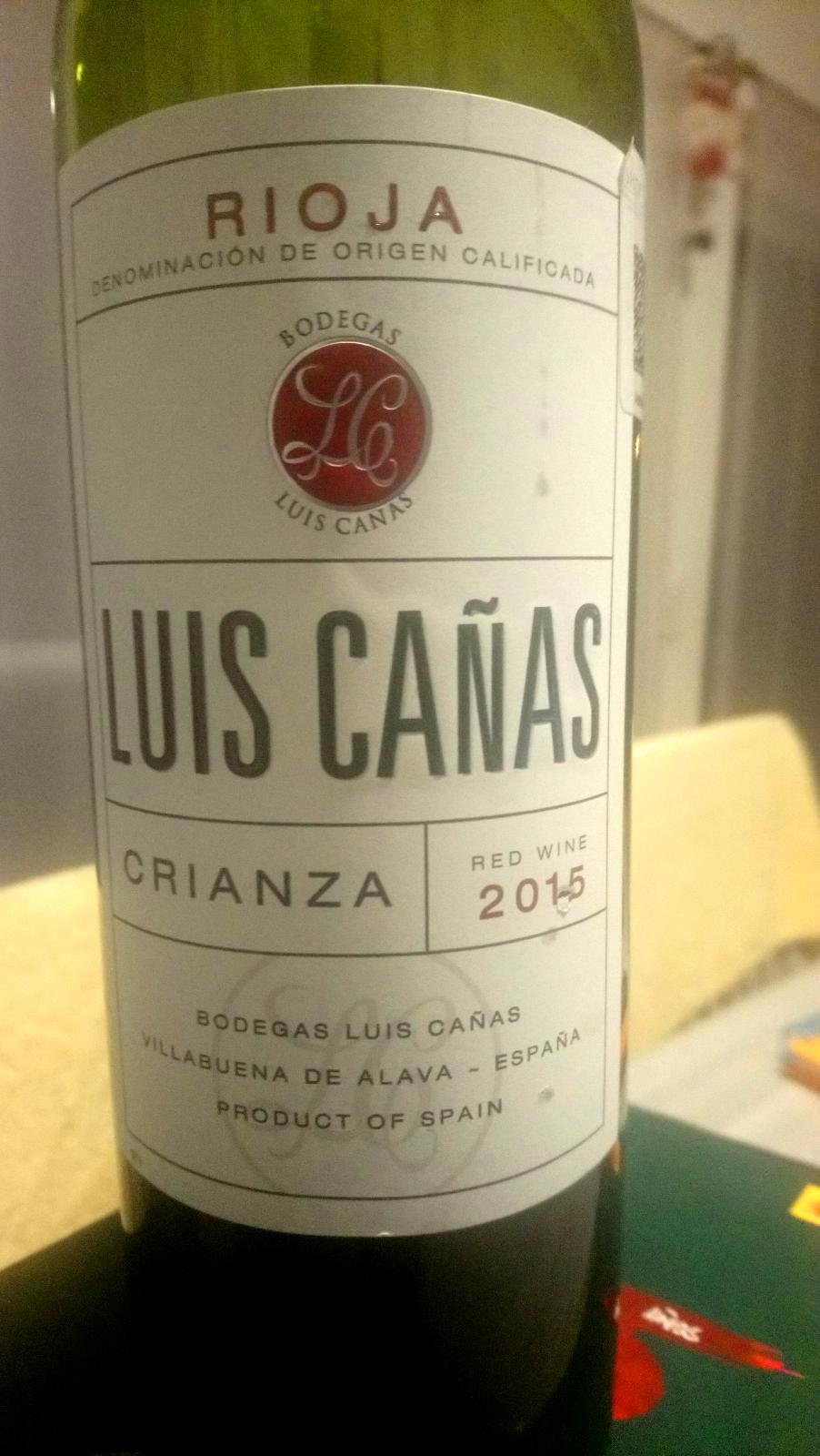 Etiqueta de Vino Luis Cañas crianza 2015, fotografía de 52 Semanas y 52 Vinos.  Semana #1, Vino #1.